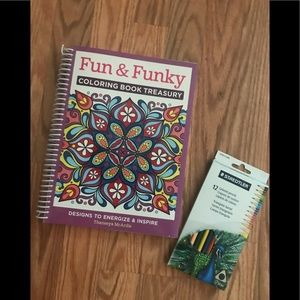 Other - New Never Used Adult Coloring Book with Pencils